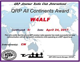 QRP All Continents certificate