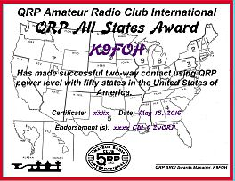 QRP All States certificate